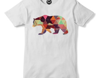 Geometric Bear T Shirt Wild Alaska Mountain Animal Hipster Triangle Tshirt PP76