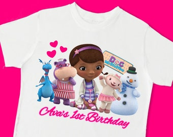 Doc McStuffins Birthday Tee. Personalized Doc McStuffins Birthday Shirt with Name & Age. 1st 2nd 3rd 4th 5th 6th 7th Birthday Shirt. (15021)
