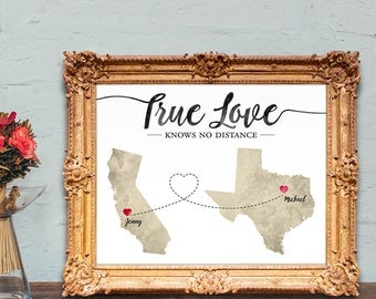 Long distance relationship gift - true love knows no distance - 8x10 PRINTABLE