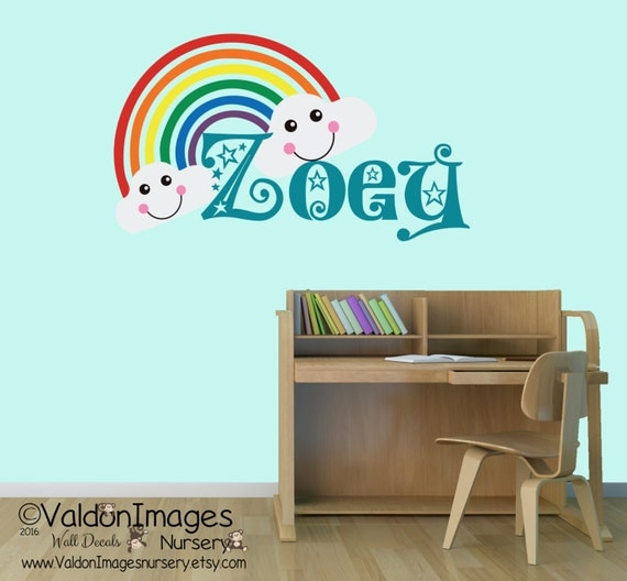 Dorm Room Wall Decor Etsy : Rainbow nursery wall decal personalilzed