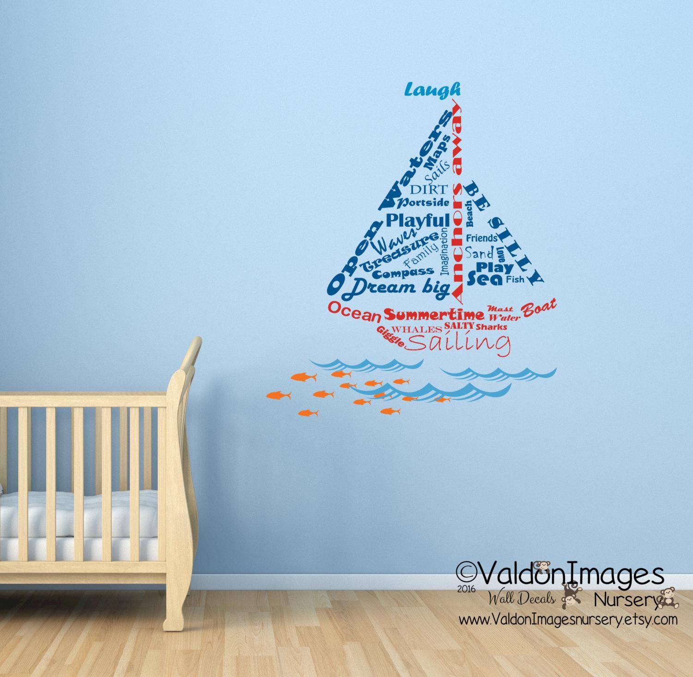 sailboat shape nautical wall decal word cloud decal ocean. Black Bedroom Furniture Sets. Home Design Ideas