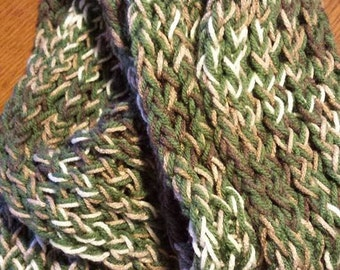 green and brown convertible scarf