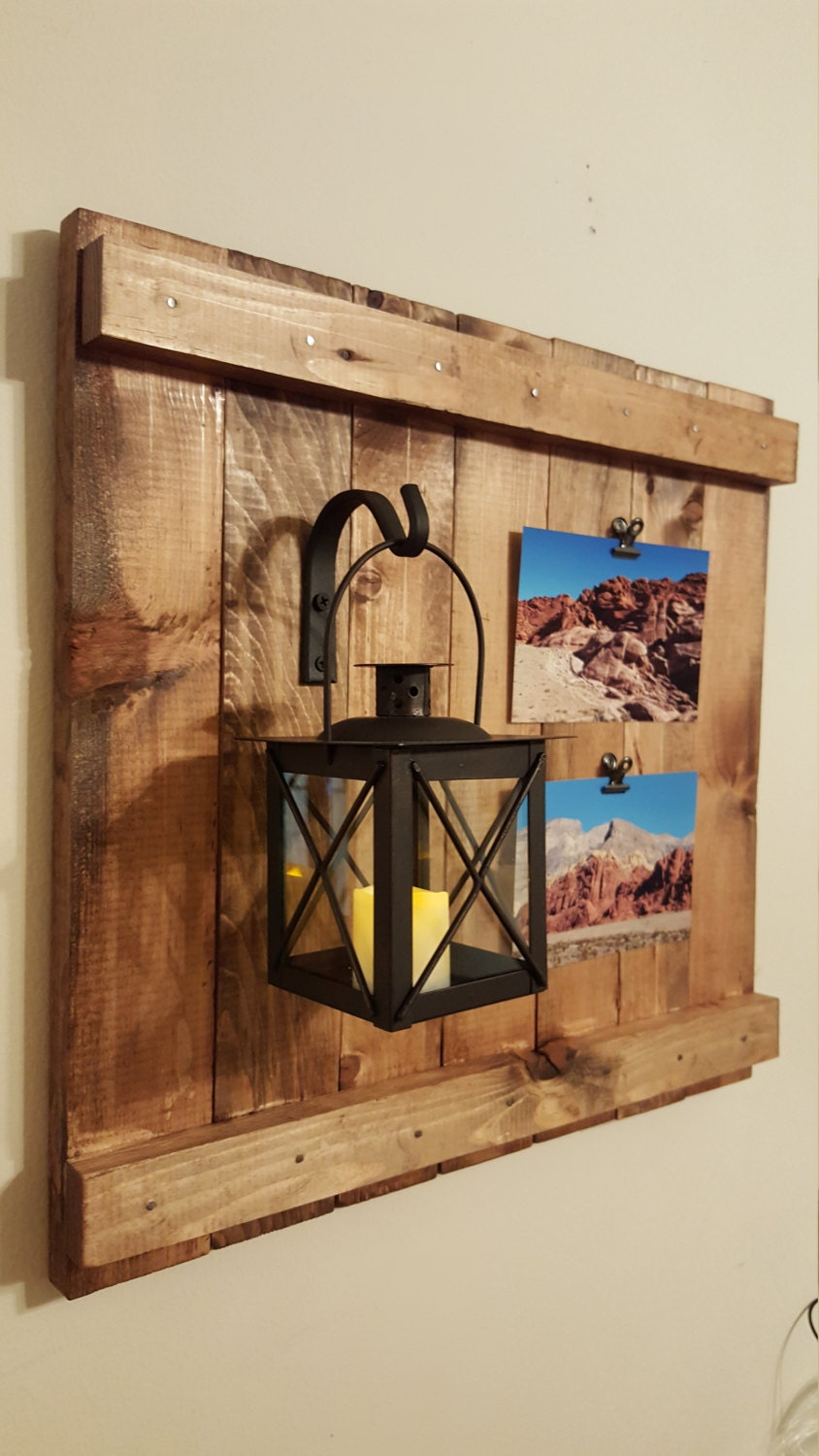 Wrought Iron Wall Decor With Wood Frame : Lantern with wrought iron rustic picture frame wall