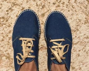 Espadrilles, men's shoes, flat, summer outfit, soft denim, cotton lining