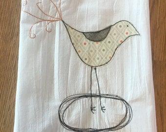 Bird Appliqued Flour Sack Tea Towel