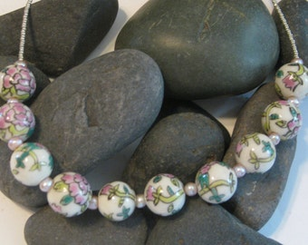 Painted glass beads (looks similar to cloisonne) necklace