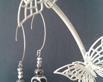 Black heart lampwork bead earrings