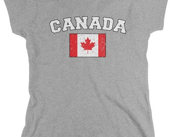 Distressed Bold Canada Flag Ladie's T-Shirt, Canadian Flag, Pride, Maple Leaf, Women's Canada Shirts AMD_CAN_02