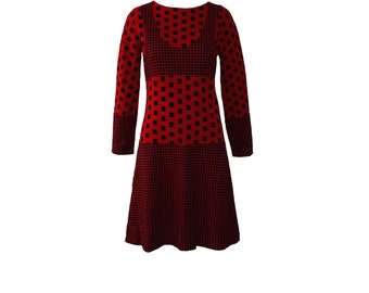 Vintage Rudi Gernreich Documented Red and Navy Block Knit Dress 1971