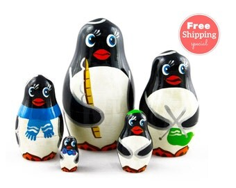 FREE Shipping * Penguins  Nesting dolls for kids  (5 pcs) * Matryoshka * Russian nesting doll * Stacking dolls * Hand Painted Nesting dolls