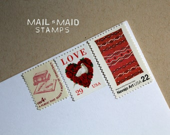 Art, love, and books || Set of unused vintage postage stamps to mail 5 standard letters