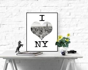 I love NY Print, affiche noir et blanc Black And White Printable,Heart Shape Art, New York Skyline,Heart Shaped Empire State,I Love NYC