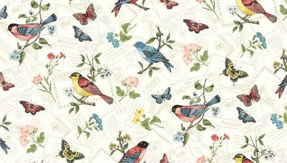 Curtain fabric with bird print