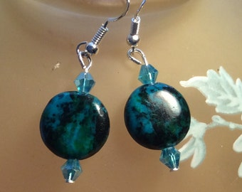 Blues 'n greens earrings