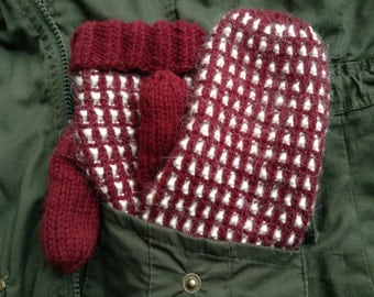 Hand-knit Mittens with Alpaca Blend/Acrylic and Fleece Lined