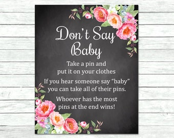 Peonies Chalkboard Don't Say Baby Printable Game, Pink Floral Don't Say Baby Game, Peonies Baby Shower Game, DIY Instant Download, 009-C
