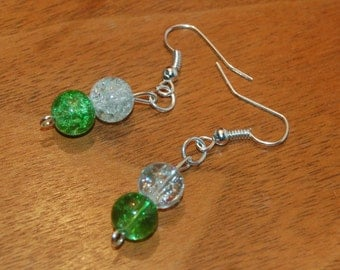 Silver earrings with green crackle glass beads