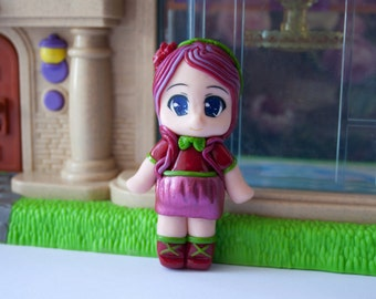Chibi doll, custom chibi doll, anime doll, anime figure, polymer clay doll