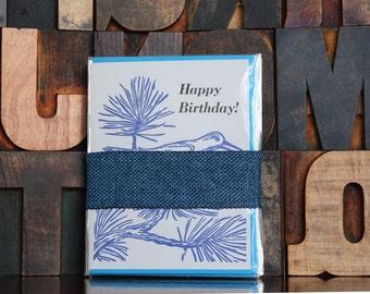 Set of Six Pinyon Jay Letterpress Birthday Cards