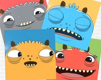 "Funny Colourful Monster Stickers 4"" x 4"" each - Set of 4"