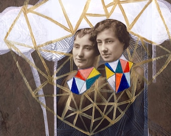 Sisters - Collage, Mixed Media Painting, Vintage Photograph, Archival Print, Illustration, Home Decor
