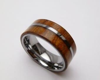 8mm Tungsten Ring Koa Wood inlay handmade sizes 7.0-12.0