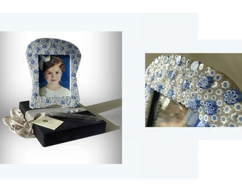 Cornflower mosaic MILLEFIORI picture frame   art M001/02, Ready For Delivery frame mosaic, Murano glass Murrine, picture frame blue,