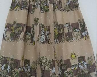 Novelty print 50s style vintage skirt TINY
