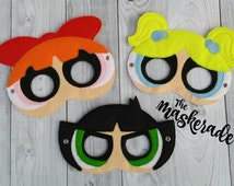 Powerpuff Girls - Blossom, Buttercup, Bubbles -  Inspired Felt Mask Party Favor, Dress Up, Play, Costume