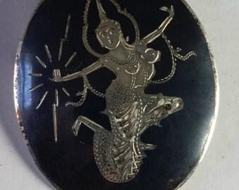 Beautiful Thai Silver and Niello Brooch. Goddess of lightning