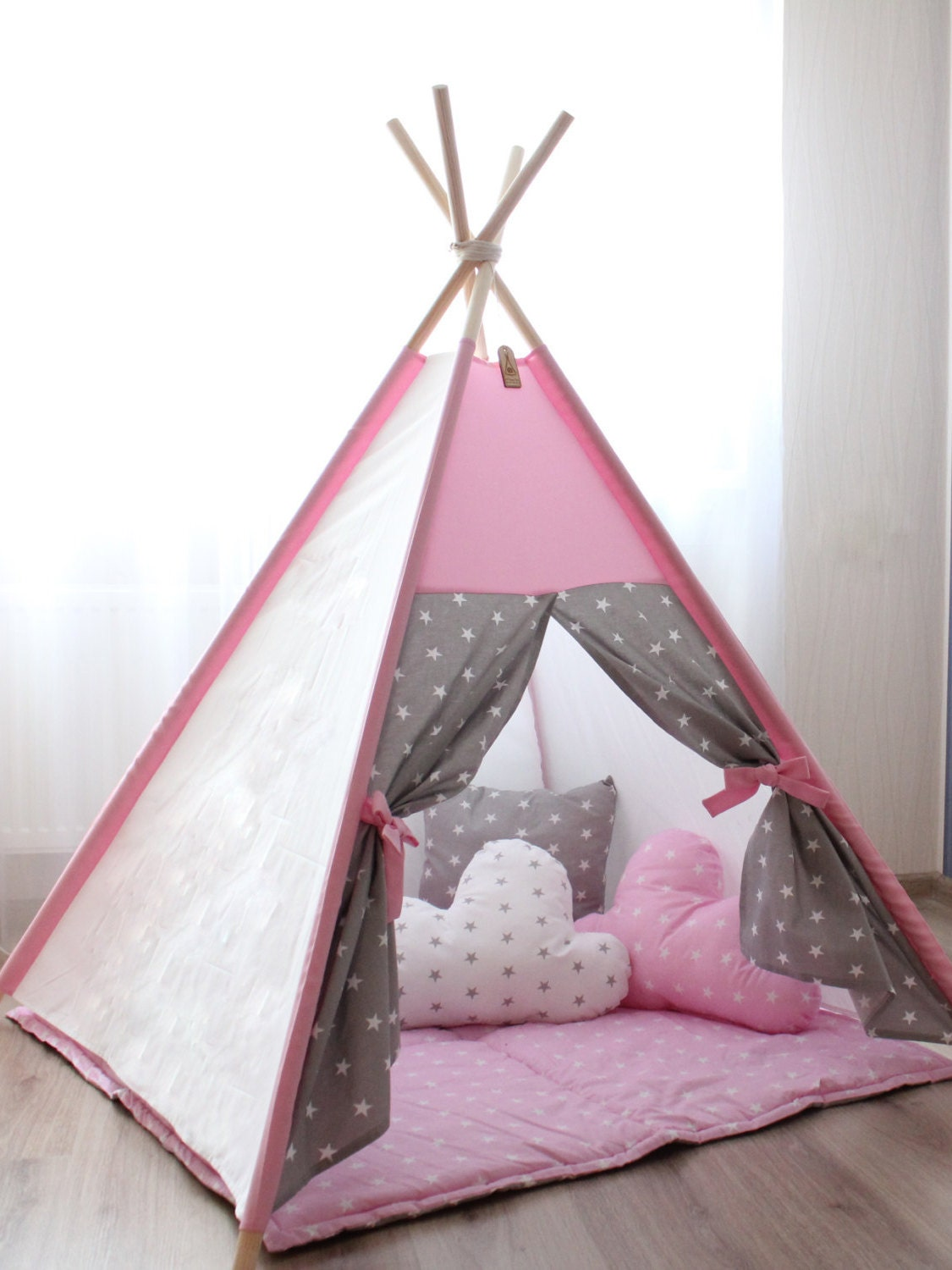 Kids Teepee Teepee Tent Pink And Grey Teepee By Teepeetwee