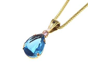 blue Topaz pendant, 14k gold pendant, gold Topaz pendant, blue Topaz, small Topaz pendant,small gold pendant,solid gold pendant,gift for her
