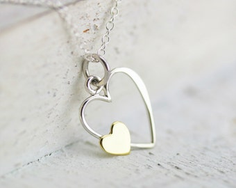 Heart Necklace - Sterling Silver Open Heart with Bronze Heart Pendant - Anniversary Gift - Wedding Jewelry - Valentine's Day Present