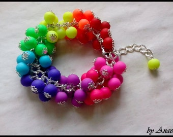 A Beaded Bracelet Bunch - Neon Rainbow