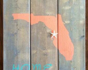Custom Made Wood Florida Home Sign, Starfish, Coastal Wall Art, Handmade Wall Art, Gifts Under 50, Florida Home