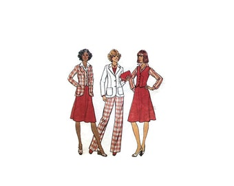 1970s Vintage Sewing Pattern - Simplicity 7376 - Jacket Vest Skirt