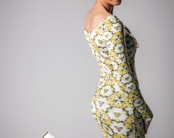 Yellow Lilly Bodycon Dress