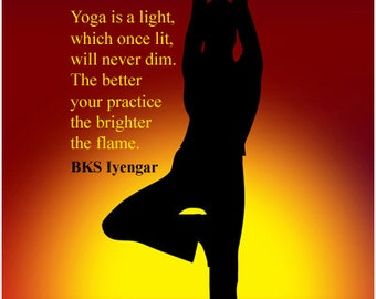 Tree Yoga Pose Inspirational Quote Poster By BKS Iyengar 24x36 Hot New!