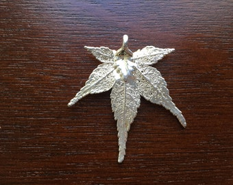 Silver Japanese Maple Leaf Pendant, Nature inspired wearable art, One of a kind, Necklace, Free Shipping