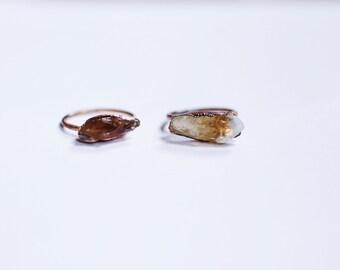 Citrine Crystal Ring - Raw Citrine Crystal Ring - Raw Citrine Ring - Citrine Copper Ring - Citrine Ring
