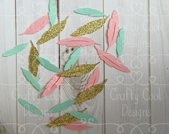 Feather Confetti - Tribal Baby Shower Decor - Boho Theme - Mint, Coral, & Gold - Table Confetti - Party Decor
