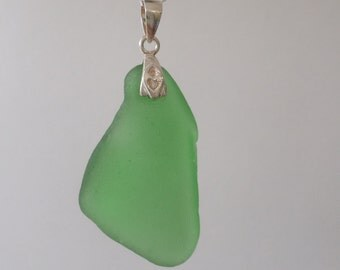 Emerald Green Sea Glass Necklace