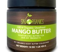 Raw Mango Butter by Sky Organics 16oz- 100% Pure, Unrefined, Organic Mango Butter-Skin Nourishing, Moisturizing & Healing, for Dry Skin