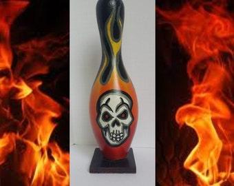 Flaming skull Halloween bowling pin