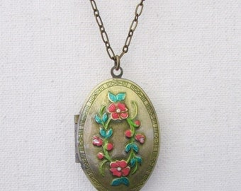 Antique oval locket necklace, vintage hand painted roses locket necklace