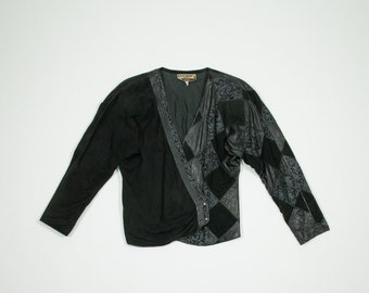 ROBERTO CAVALLI - Black leather and suede jacket