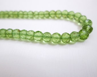 Natural Peridot Rondelle faceted beads, 3.50-4 mm strands, 14 inches Finest quality Peridot Rondelle beads, Beading supplies, Peridot beads