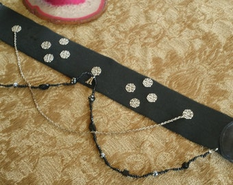 belt (belt) black and silver with channels