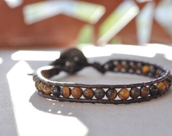Men's leather wrap • KOLKO leather & Tiger eye bracelet
