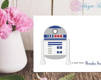 Personalized R2D2 Stationery / Custom Star Wars Stationery / Star Wars Stationery Set / Custom Boy Stationery / Set of 12